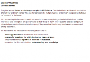 Sample from Gifted Learners in the Classroom Course #3
