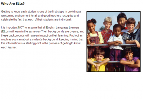 Sample from Teaching English Language Learners Course #1