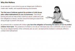 Sample from Recognizing & Preventing Child Abuse course #1