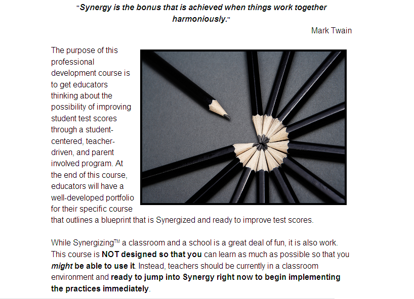 Sample from Synergizing a Clasroom Course #1