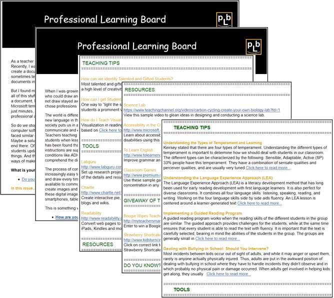 Professional Learning Board K-12 Teacher Tips & Tools Newsletter