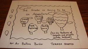 This is the initial sketch of a back to school bulletin board created to excite and let third grade students know what they will be studying.