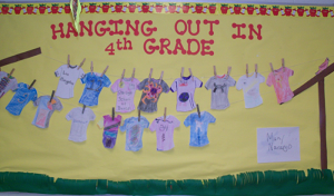 In this back to school bulletin board, the teacher added a clothesline of real cotton between two posts. On the first day of school, students decorate a pre-cut t-shirt shape to share information about themselves.
