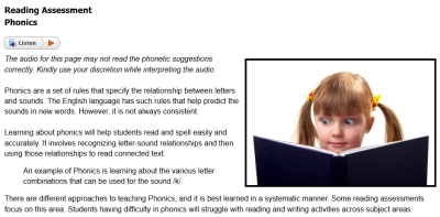 Sample from Reading Across the Curriculum course #1