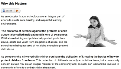 Sample from Recognizing & Preventing Child Abuse course #4