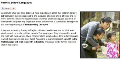 Sample from Teaching English Language Learners course #2