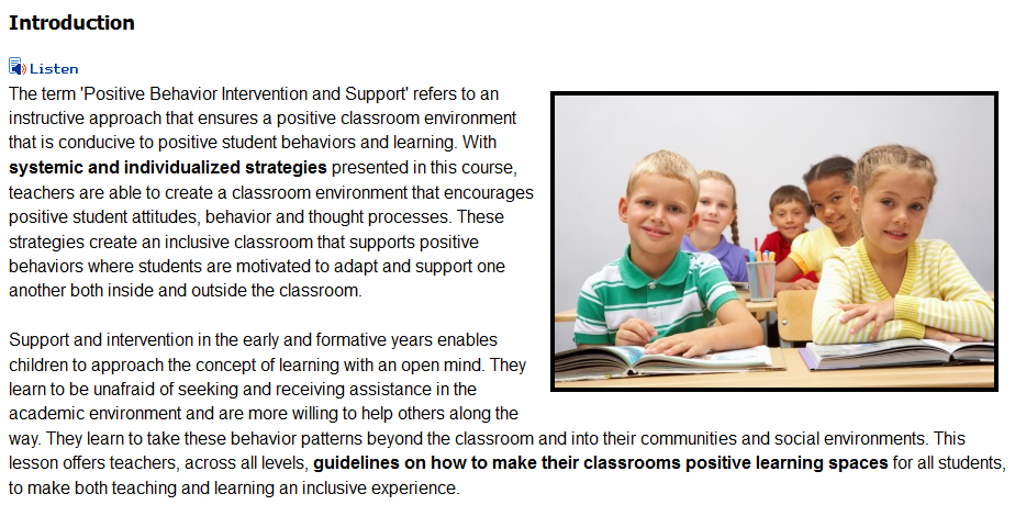 Classroom Management for Positive Behaviors