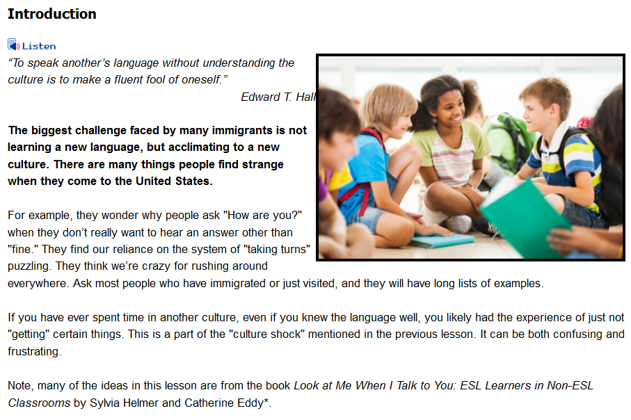 English Language Learners in the Classroom
